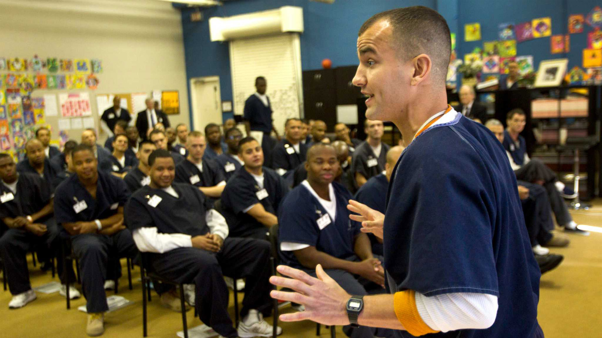 Morgan Crocker gives his business plan presentation during a Prison Entrepreneurship Program class at the Cleveland Correctional Center on Thursday, Feb. 14, 2013, in Cleveland, Texas. PEP is a privately-run program that trains inmates how to run their own businesses once they are paroled. ( Brett Coomer / Houston Chronicle )